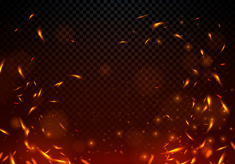 Vector Illustration Fire Sparks On Transparent Background.