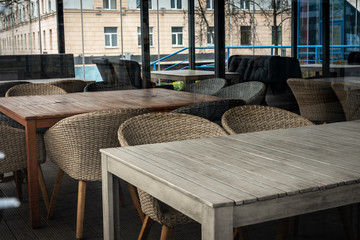 Modern and simple cafe interior with wooden classical furniture. Wall mural