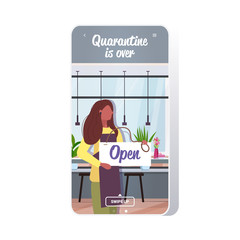 waitress holding open sign board coronavirus quarantine is ending victory over covid-19 concept cafe interior smartphone screen mobile app copy space vector illustration