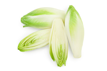Chicory salad isolated on white background with clipping path and full depth of field. Top view. Flat lay