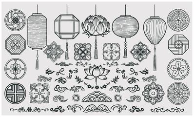 Fototapeta Set of hand drawn oriental elements. Asian lanterns and traditional patterns. obraz