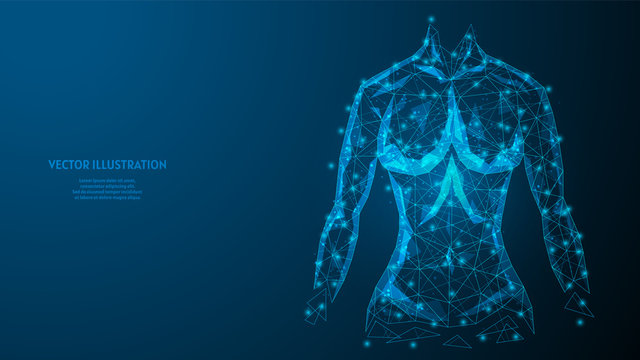 Torso of a woman close-up. Strong athletic muscular body. The concept of sports, healthy eating, healthy lifestyle. 3d low poly wireframe model vector illustration.