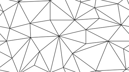 Geometric simple black and white minimalistic pattern, triangles or stained-glass window. Triangulation pattern. Aspect ratio, full hd, 4K, for a widescreen display