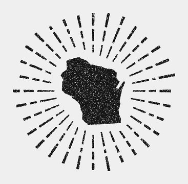 Vintage map of Wisconsin. Grunge sunburst around the us state. Black Wisconsin shape with sun rays on white background. Vector illustration.