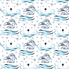 Cute childish seamless pattern with polar bears, fish and snowflakes
