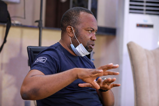 Meadow series film director Samuel Idiagbonya speaks during an interview with Reuters, following the relaxation of lockdown, amid the coronavirus disease (COVID-19) outbreak in Abuja