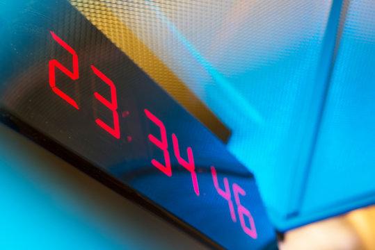 Digital clock on the wall