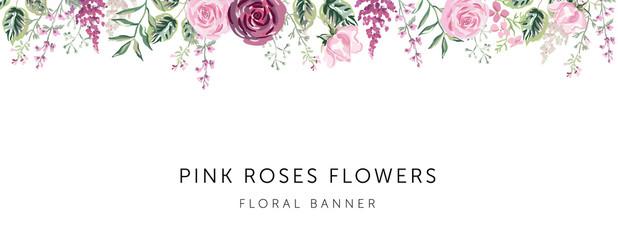 Border of pink, burgundy rose flowers, forest green leaves, herbs, white background. Wedding invitation banner frame. Vector illustration. Floral arrangement. Design template greeting card