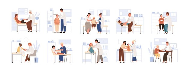 Set of cute child visit doctor vector flat illustration. Collection of various kids and parents at physician consultation isolated on white. Friendly medical staff work with diverse boy and girl