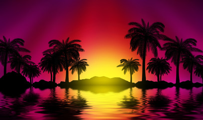 Papiers peints Bordeaux Silhouettes of tropical palm trees on a background of abstract background with neon glow. Reflection of palm trees on the water. 3d illustration