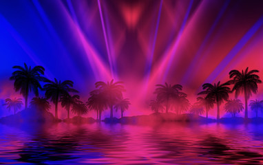 Silhouettes of tropical palm trees on a background of abstract background with neon glow. Reflection of palm trees on the water. 3d illustration