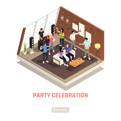 House Party Isometric Background