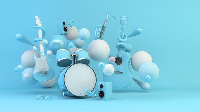 Blue music instruments