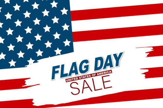Flag Day USA sale. United States of America national Old Glory, The Stars and Stripes. 14 June American holiday. Vector illustration.