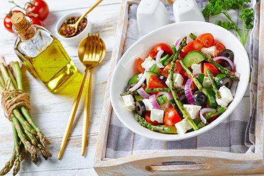 Greek style asparagus salad with feta cheese