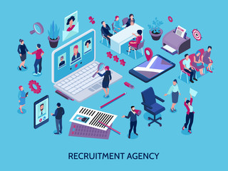 Spoed Fotobehang Hoogte schaal Recruitment Agency Isometric Composition