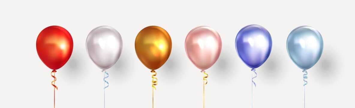 Set of helium isolated balloons of different colors. Vector illustration
