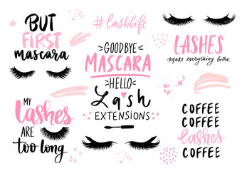 Lashes, mascara, makeup-set with closed eyes, lettering calligraphy quotes or phrases.