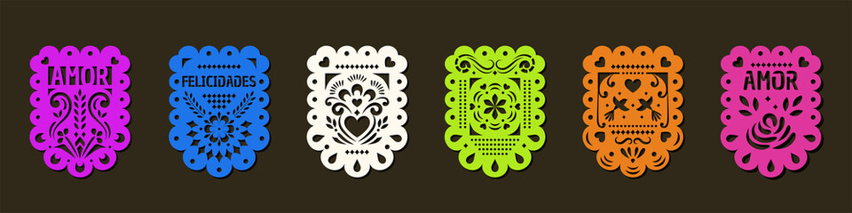 Set of Papel Picado banners. Mexican garlands, fiesta party supplies, party decorations, destination wedding decor.