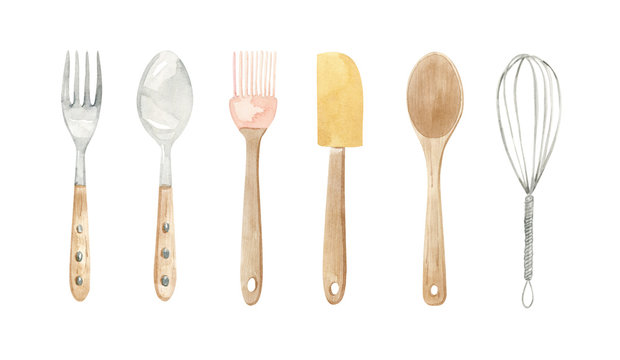baking equipment illustration - wooden and metal spoon, fork, spatula, whisk, brush