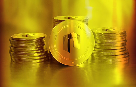 Neo digital crypto currency. Stack of golden coins. Cyber money.