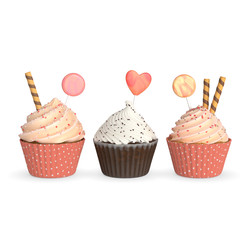 Set of realistic cupcakes on white background