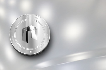 Neo digital crypto currency. Silver coin. Cyber money.