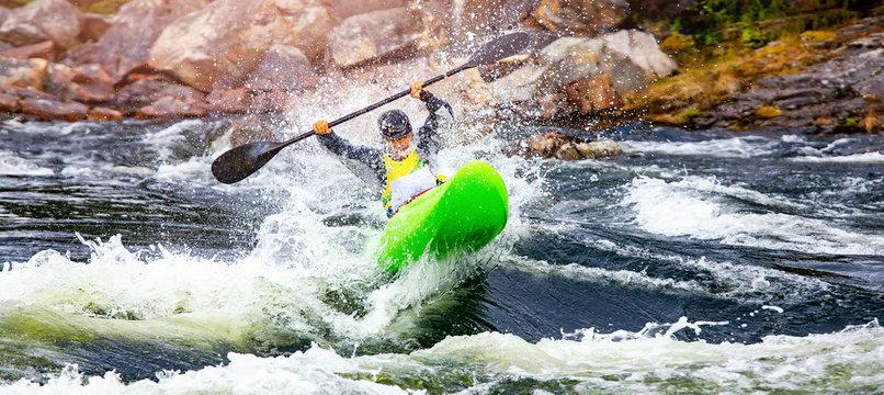 Banner whitewater kayaking, extreme sport rafting. Guy in kayak sails mountain river
