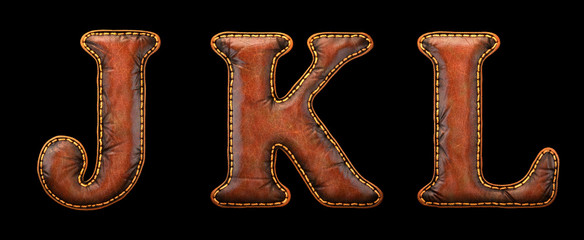 Set of leather letters J, K, L uppercase. 3D render font with skin texture isolated on black background.