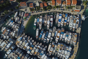 Small luxury yachts are seen in Krilo Jesenice marina, following the outbreak of the coronavirus disease (COVID-19)