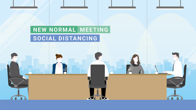 Social distancing of 5 persons in meeting room