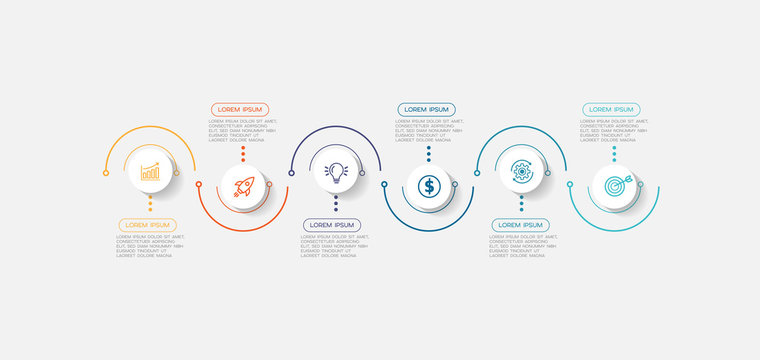 Infographic element with icons and 6 options or steps. Can be used for process, presentation, diagram, workflow layout, info graph, web design. Vector illustration.