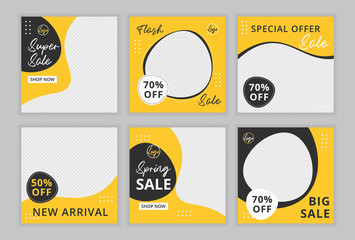 Editable template post for instagram  and social media ad. web banner ads for promotion design with yellow and black color.
