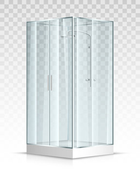 Shower transparent glass cabin. Vector illustration
