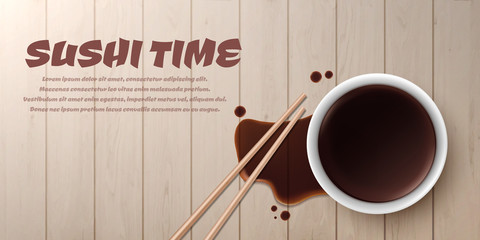 Soy sauce isolated on wood background