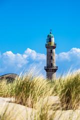 Wall Mural - Blick auf den Leuchtturm mit Düne in Warnemünde