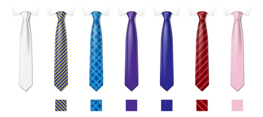 Tie mockup with different fashion pattern. Striped silk neckties templates with textures set. Man colored tie set. Vector illustration Fotobehang