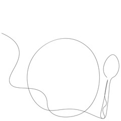 Fototapeta Spoon and plate silhouette line drawing, vector illustration