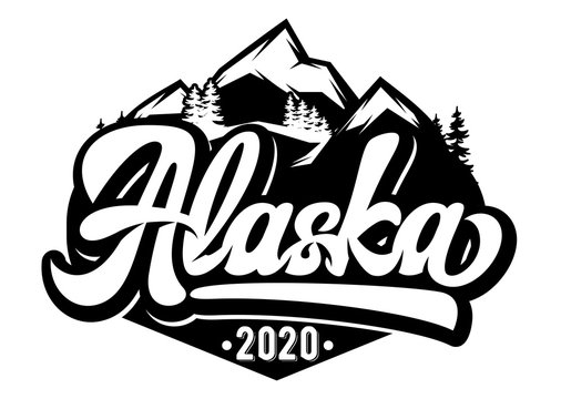 Vector template for badge with mountains and inscription - Alaska. Monochrome illustration