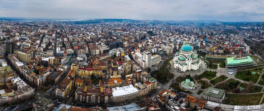 Wide panorama of Belgrad city, Serbia