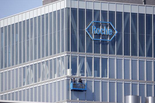 Workers clean windows of a building of Roche in Rotkreuz