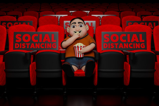3d rendering of The cute fat boy sitting in the cinema to watching the film while eating popcorn and drinking sweetwater with the banner Social Distancing for against pandemics of COVID-19 concept.