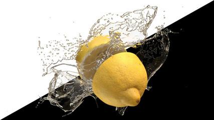 Zwei Hälften einer Zitrone mit Wasser Spritzer
