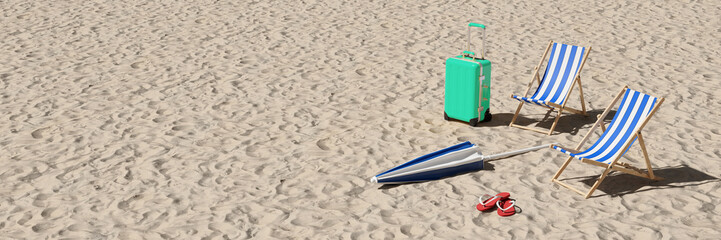 Ingelijste posters Wanddecoratie met eigen foto Sommerurlaub Konzept mit Liegestühlen am Strand