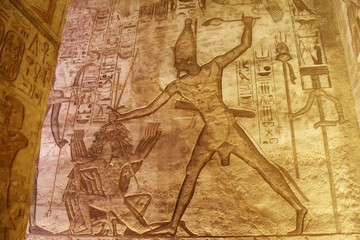 Printed roller blinds Egypt Wall carving showing the King holding a a war prisoner by the head in Abou simbel temple in Aswan