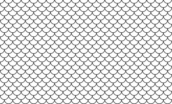 line art of fish scale pattern isolated on white background, tile pattern line, mermaid tail pattern grid for decoration