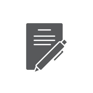 Paper documents and pen vector icon symbol isolated on white background