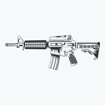 AR-15 Gun Black And White Isolated Image Silhouette Vector Illustration