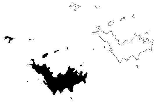 Saint Barthelemy island (France, French Republic, Overseas collectivity) map vector illustration, scribble sketch St. Barths or St. Barts map