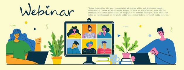 Webinar online business solution. People use video chat on desktop and laptop to make conference. Flat modern vector illustration.
